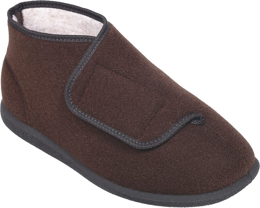 Cosyfeet Robbie Single Slipper Brown - Right Foot