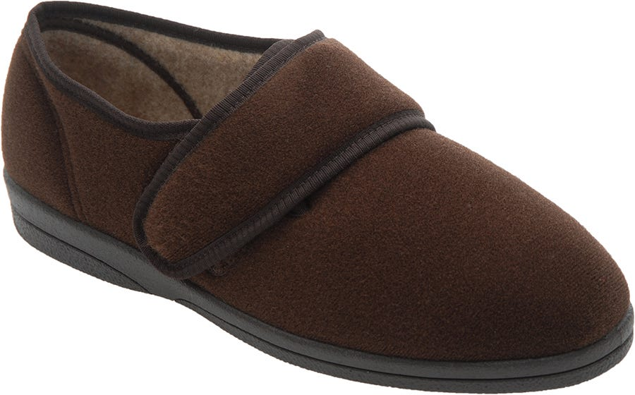 Cosyfeet Richard Single Slipper Brown - Right Foot