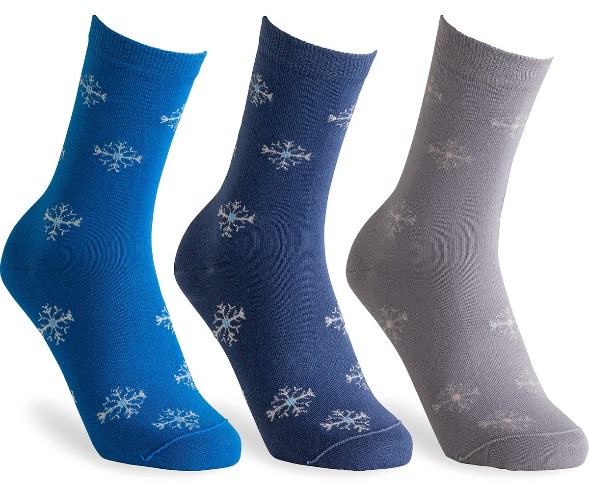 Cosyfeet Extra Roomy Women's Cotton-rich Snowflake Socks
