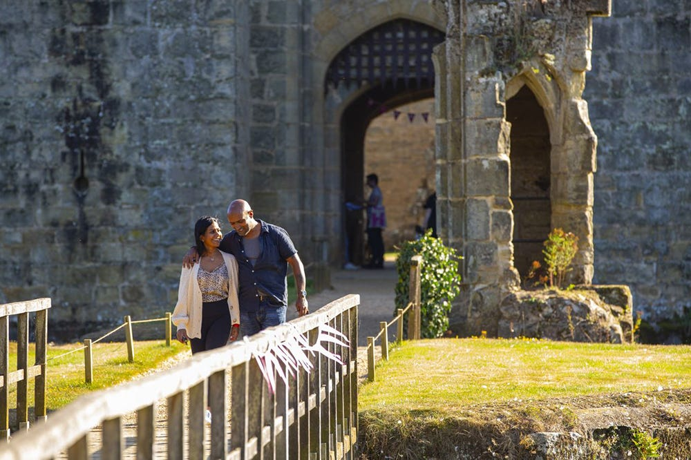 Couple visiting a castle