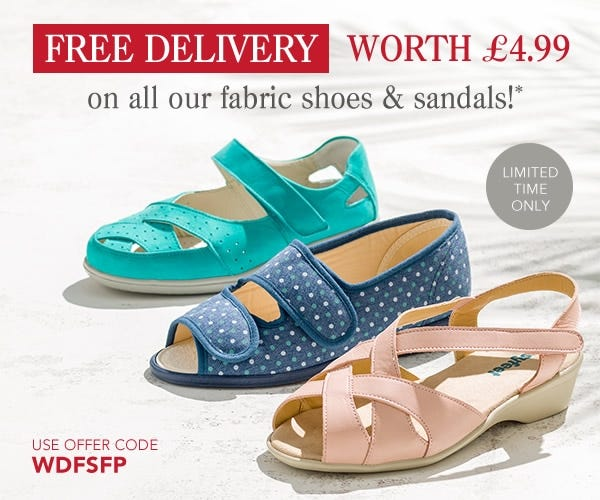 Get free delivery worth £4.99 on our fabric shoes and sandals.
