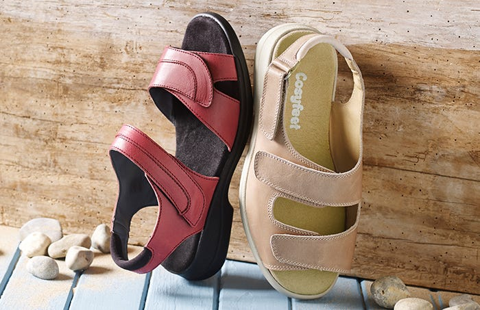Cher sandal in Beetle Red and Sunny sandal in Sand