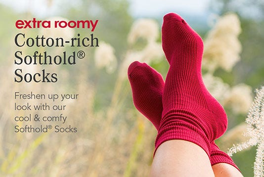 Extra Roomy Cotton‑rich Softhold® Socks