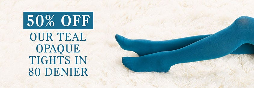 50% off Teal Opaque Tights
