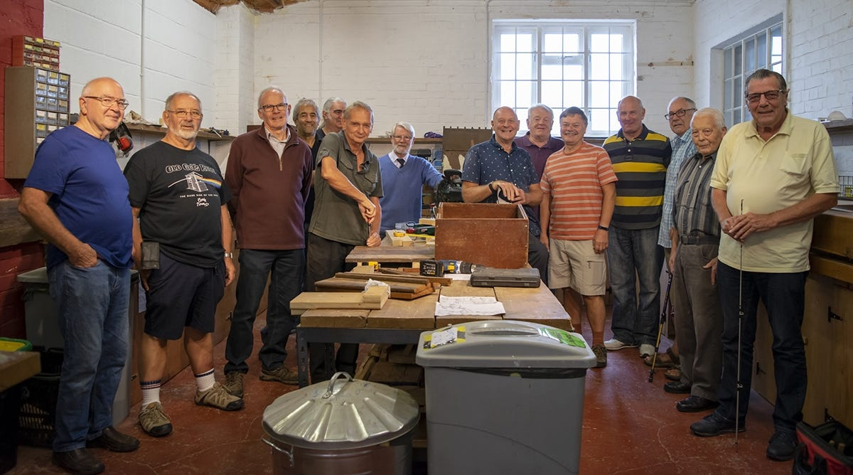 Street Men's Shed members at a Tuesday morning meeting. Left to right: Graham, Brian, Stuart, Richard, Phillipe, Trevor, Mike, Richard, Steve, Tim, Dave, Harry, David, Alf