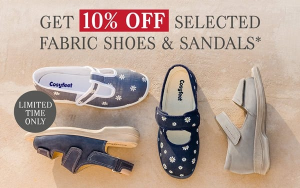 Get 10% off selected fabric shoes and sandals