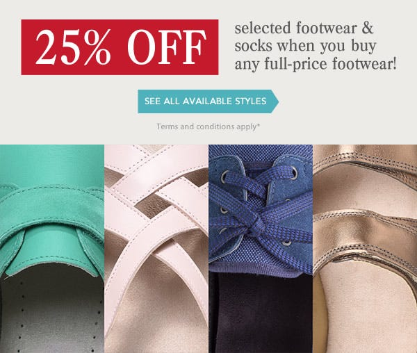 Ending Soon - 25% off Selected Footwear and Socks