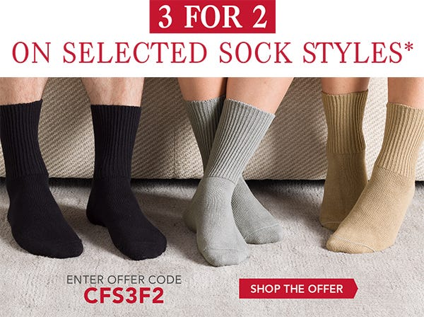 3 for 2 on selected sock styles