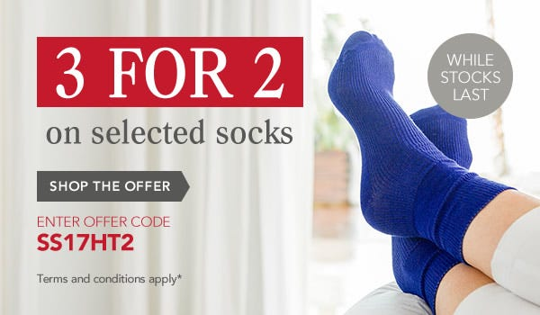 3 for 2 on Selected Socks