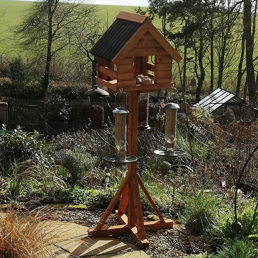 Handmade bird table