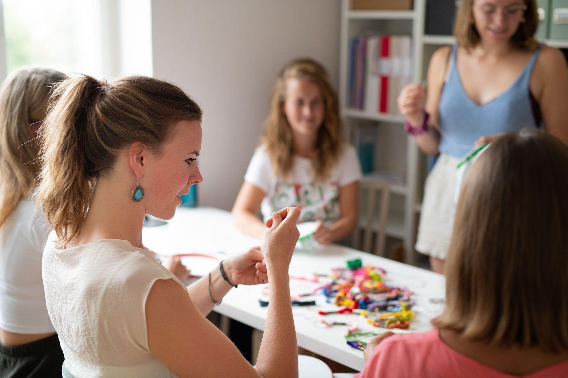 Ladies enjoying craft class