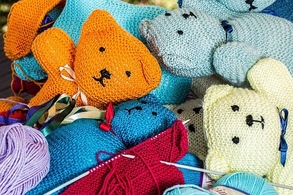 Craft knitting colourful bears