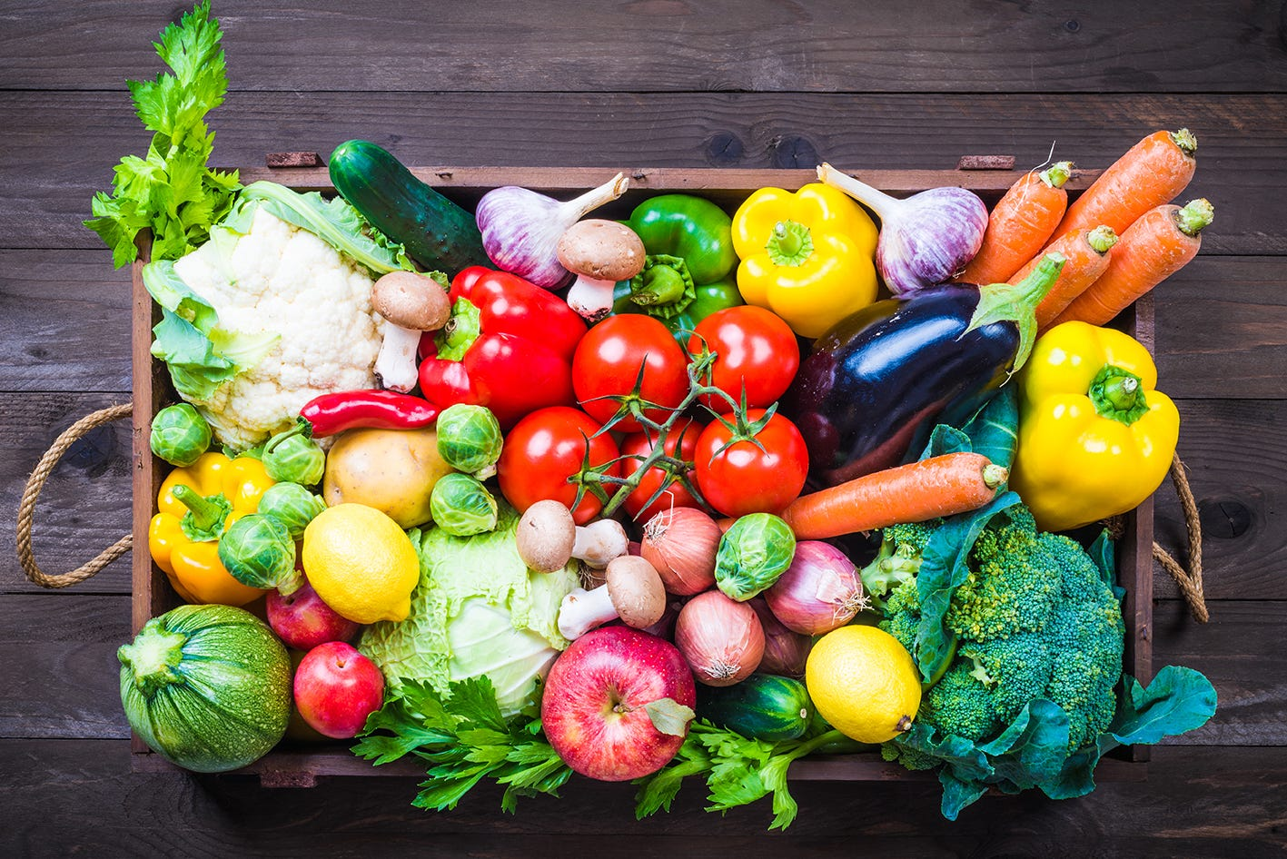 Organic fruit and vegetables in a box