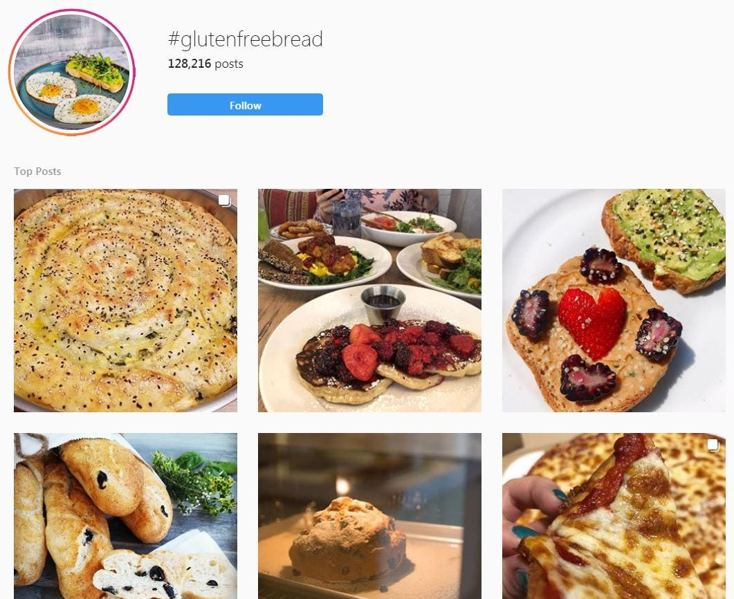 Gluten-free bread recipes on Instagram