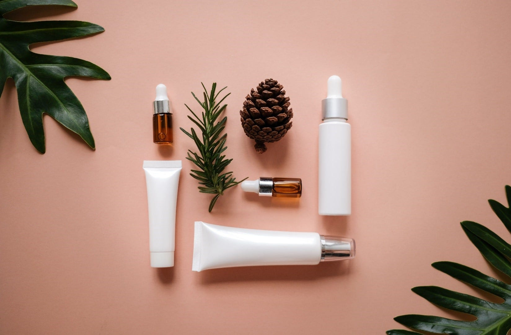 Unbranded skincare products and a pinecone