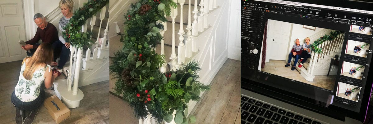 A collage featuring footwear models on a staircase decorated with winter greenery and a laptop screen