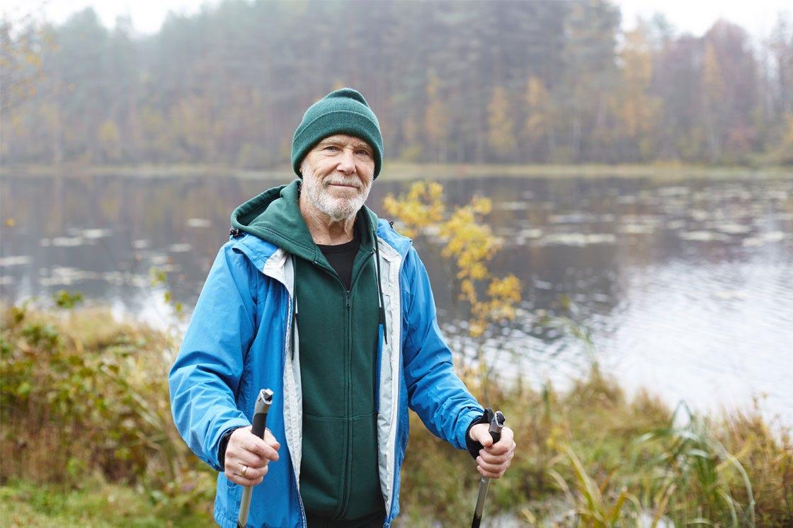 A gentleman enjoying a nature walk