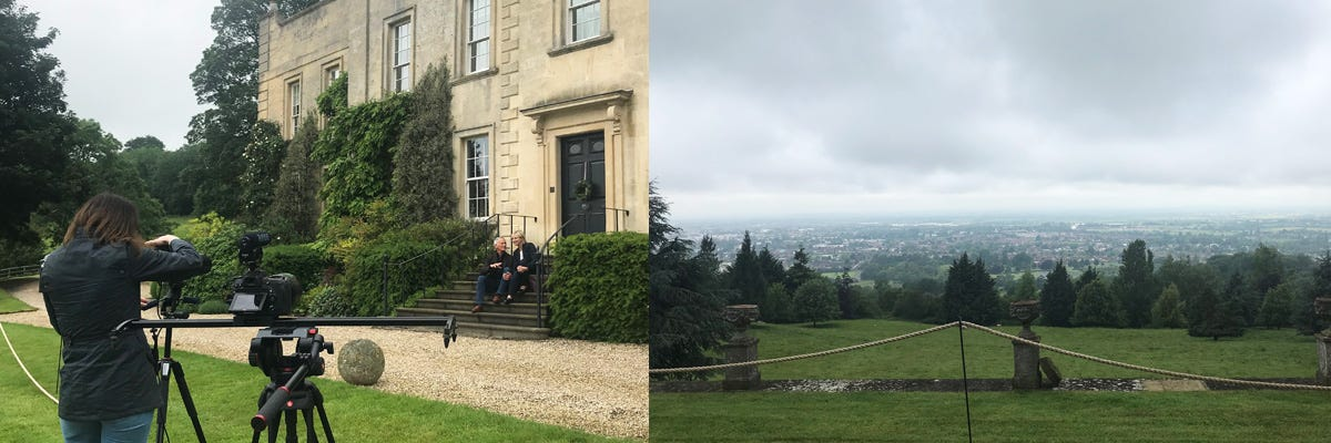 A collage featuring models being photographed outside a manor house and a view of Cheltenham