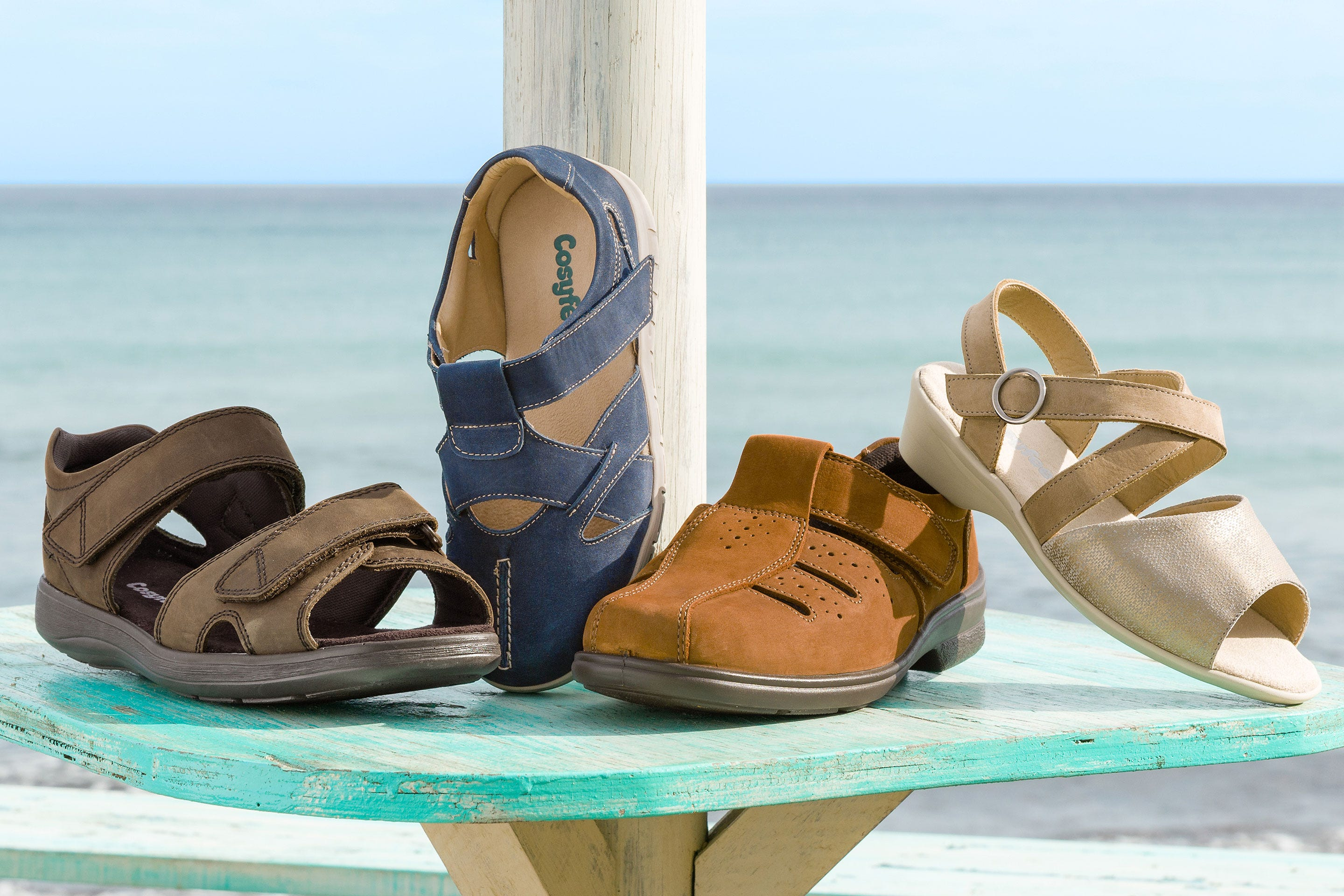 Four styles of extra roomy Cosyfeet sandals