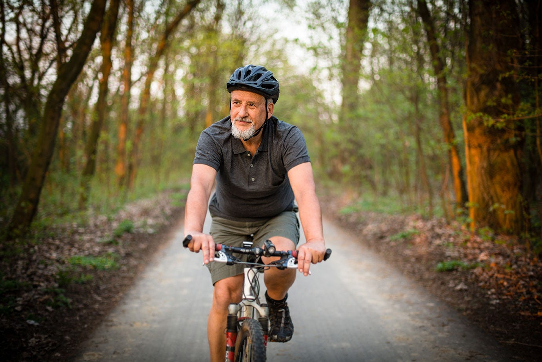 Older man cycling