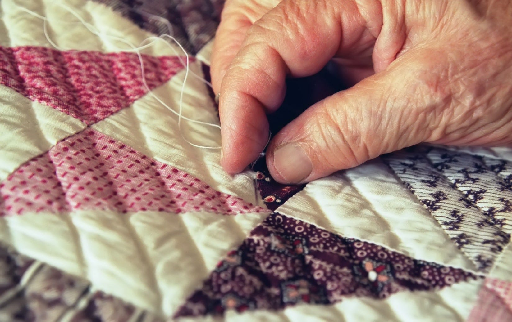 Sewing a quilt
