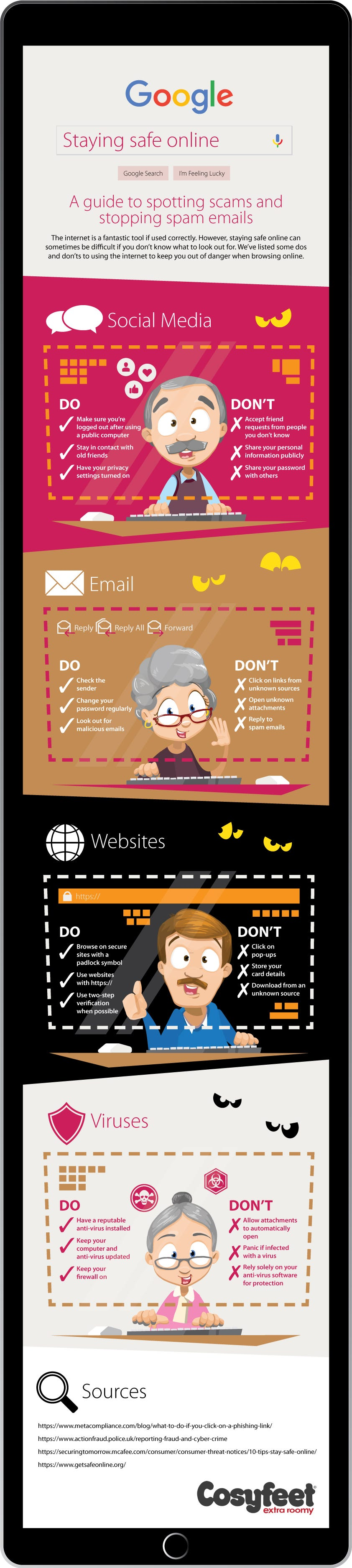 Infographic for staying safe online