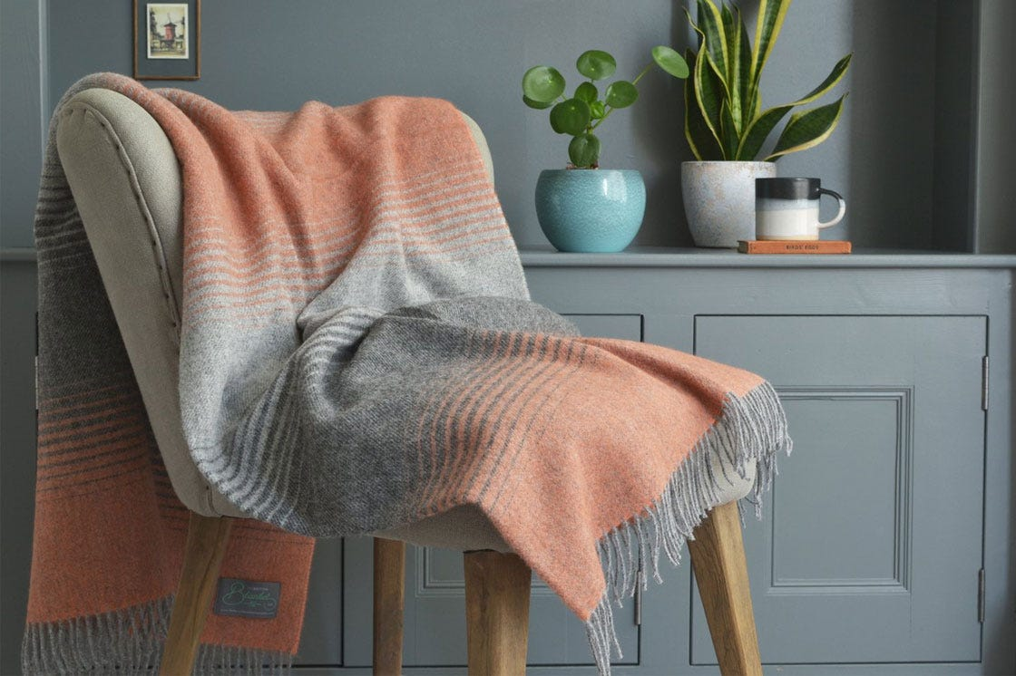 orange and grey starry night throw