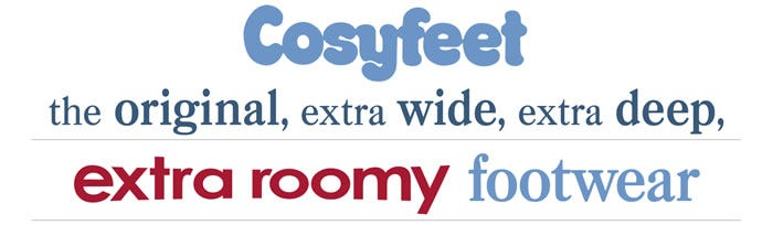 Cosyfeet the original, extra wide, extra deep, extra roomy footwear
