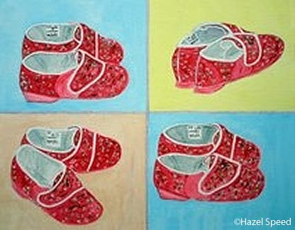 The talented daughter of one of our customers has sent us a copy of her fantastic 'pop art' painting of Cosyfeet slippers.