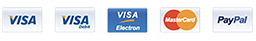 Accepted Payments: Visa, Visa Debit, Visa Electron, Mastercard and Paypal