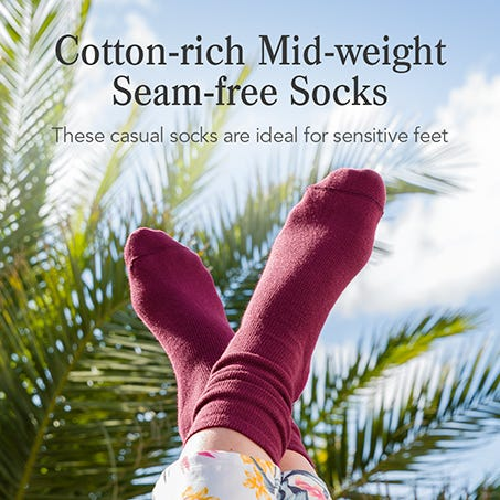 Cotton-rich Mid‑weight Seam-free Socks