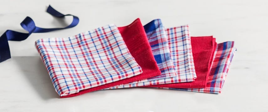 Mixed Red Check Handkerchiefs