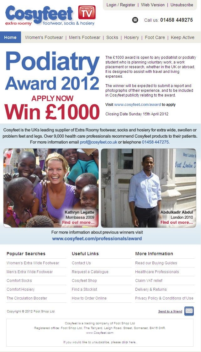 Cosyfeet Podiatry Award 2012