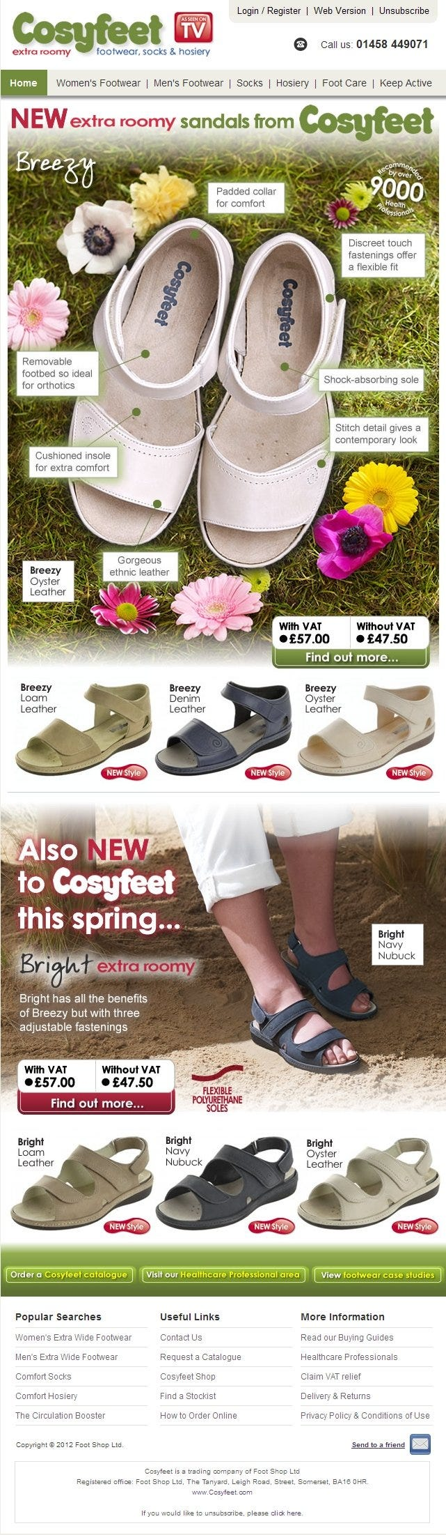 New extra roomy sandals from Cosyfeet