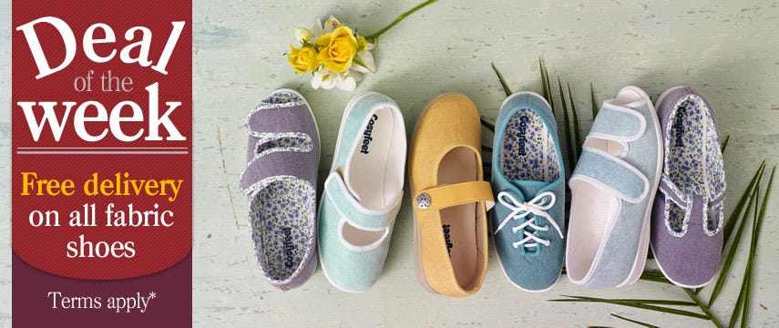 Get FREE delivery on all fabric shoes!