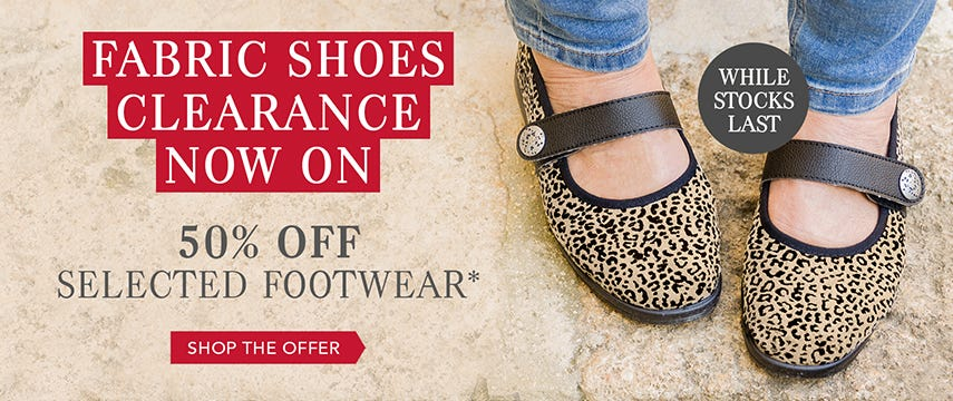 Fabric shoes clearance now on