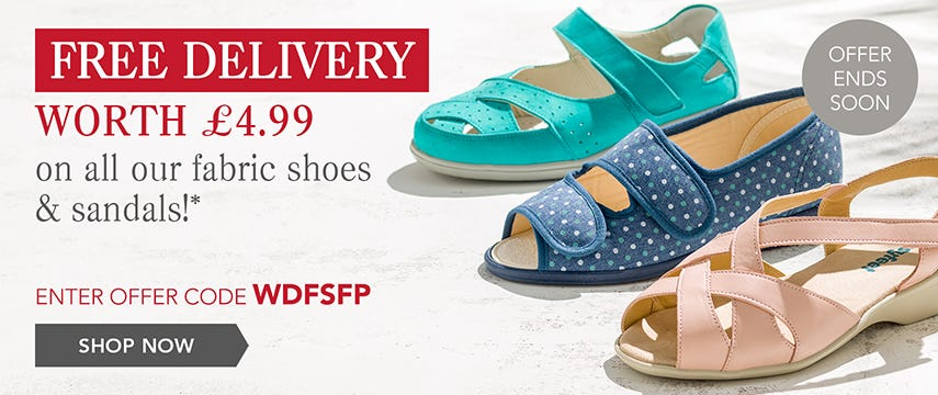 Free delivery on all fabric shoes and sandals
