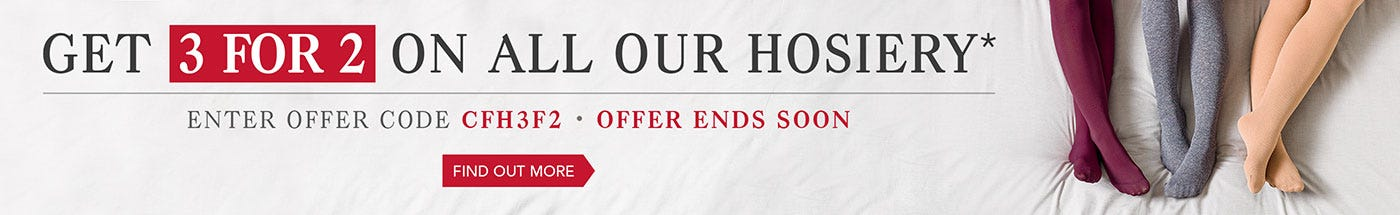 Get 3 for 2 on all our hosiery*