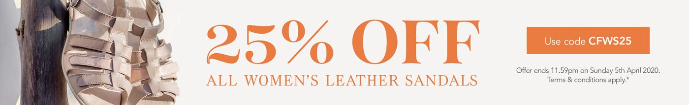 Get 25% off all women's leather sandals*